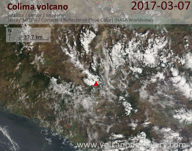 Satellite image of Colima volcano on  8 Mar 2017