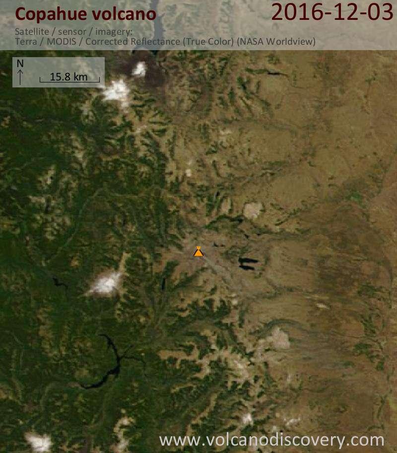 Satellite image of Copahue volcano on  3 Dec 2016