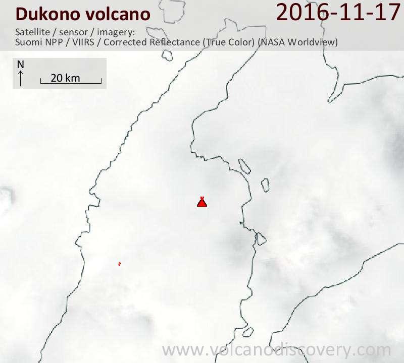 Satellite image of Dukono volcano on 17 Nov 2016