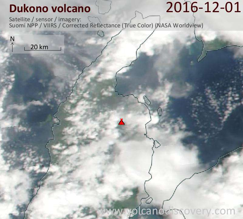 Satellite image of Dukono volcano on  1 Dec 2016