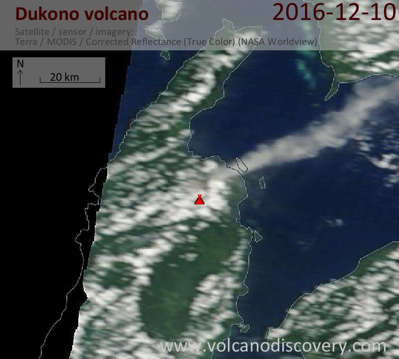 Satellite image of Dukono volcano on 10 Dec 2016