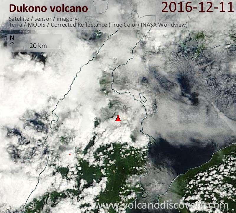 Satellite image of Dukono volcano on 11 Dec 2016