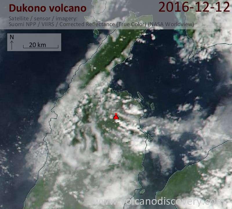 Satellite image of Dukono volcano on 12 Dec 2016