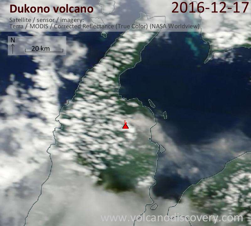 Satellite image of Dukono volcano on 17 Dec 2016
