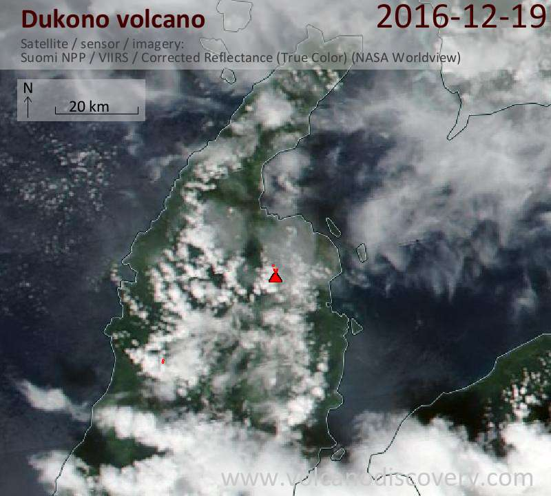 Satellite image of Dukono volcano on 19 Dec 2016