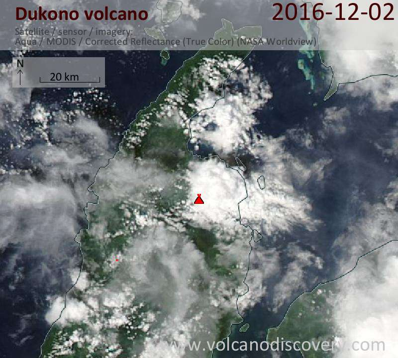 Satellite image of Dukono volcano on  2 Dec 2016