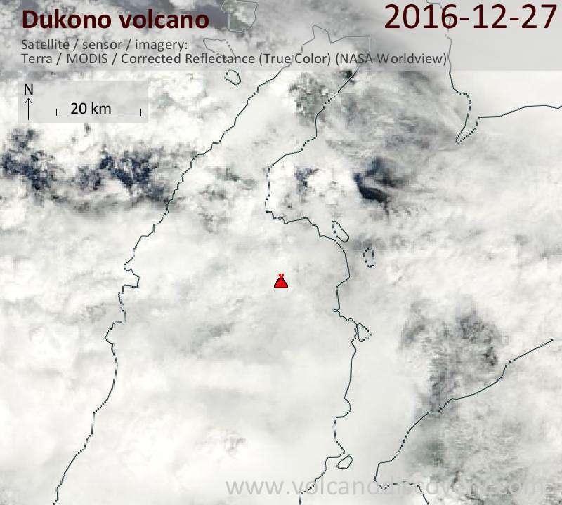 Satellite image of Dukono volcano on 27 Dec 2016