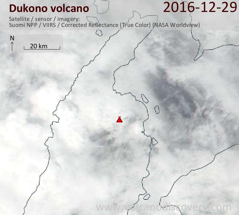 Satellite image of Dukono volcano on 29 Dec 2016