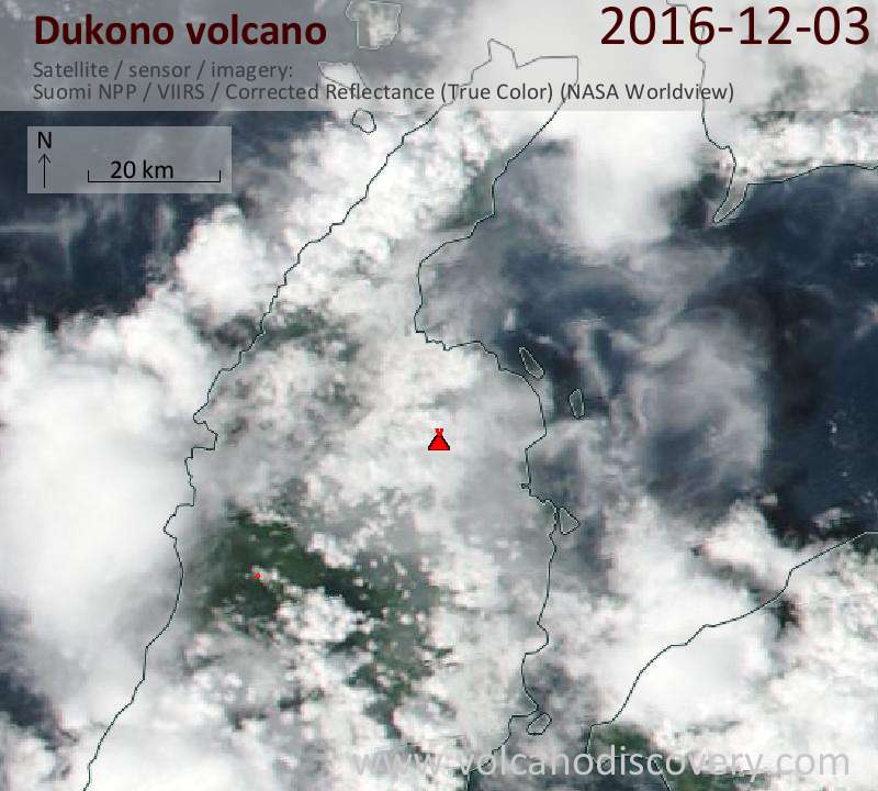 Satellite image of Dukono volcano on  3 Dec 2016