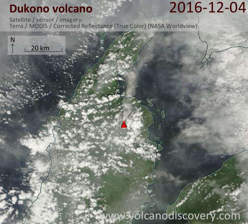Satellite image of Dukono volcano on  4 Dec 2016