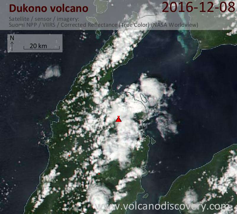 Satellite image of Dukono volcano on  8 Dec 2016