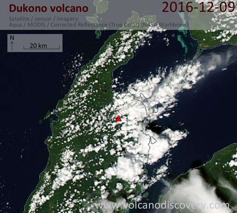 Satellite image of Dukono volcano on  9 Dec 2016