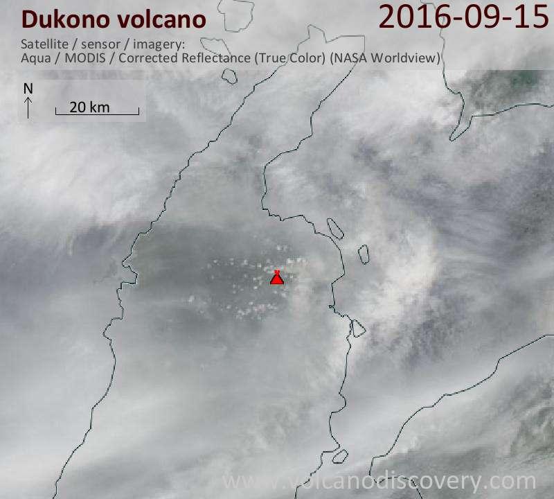 Satellite image of Dukono volcano on 15 Sep 2016
