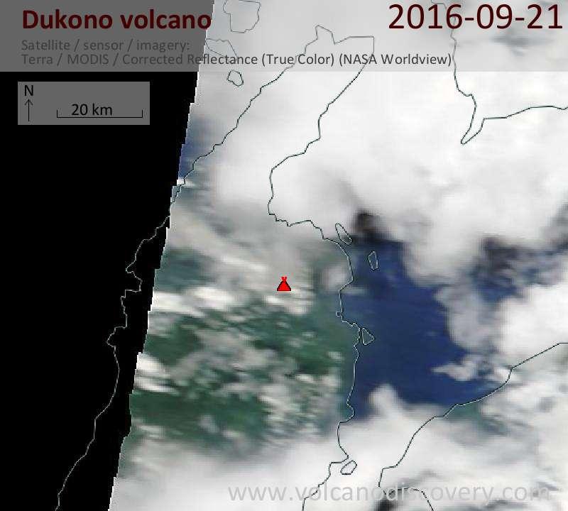 Satellite image of Dukono volcano on 21 Sep 2016
