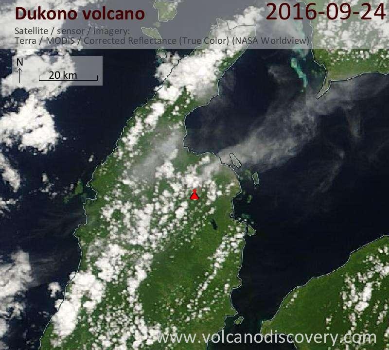 Satellite image of Dukono volcano on 25 Sep 2016