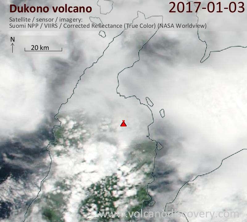 Satellite image of Dukono volcano on  3 Jan 2017