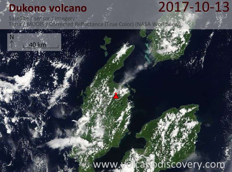 Satellite image of Dukono volcano on 13 Oct 2017