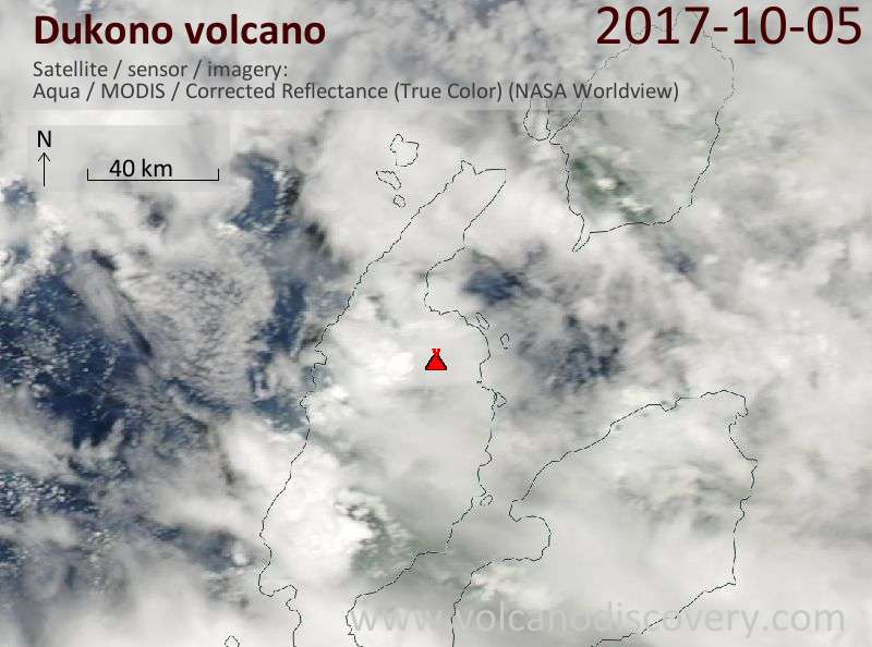 Satellite image of Dukono volcano on  5 Oct 2017