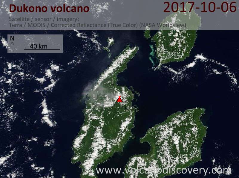 Satellite image of Dukono volcano on  6 Oct 2017