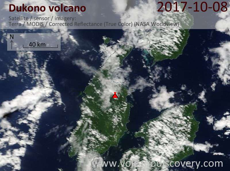 Satellite image of Dukono volcano on  8 Oct 2017