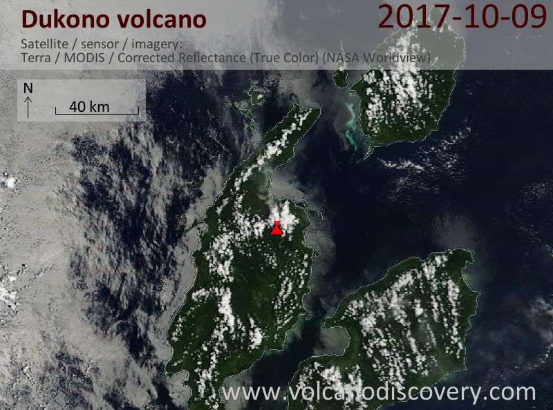 Satellite image of Dukono volcano on  9 Oct 2017