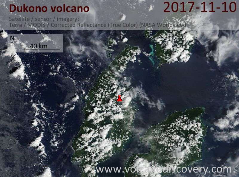 Satellite image of Dukono volcano on 10 Nov 2017
