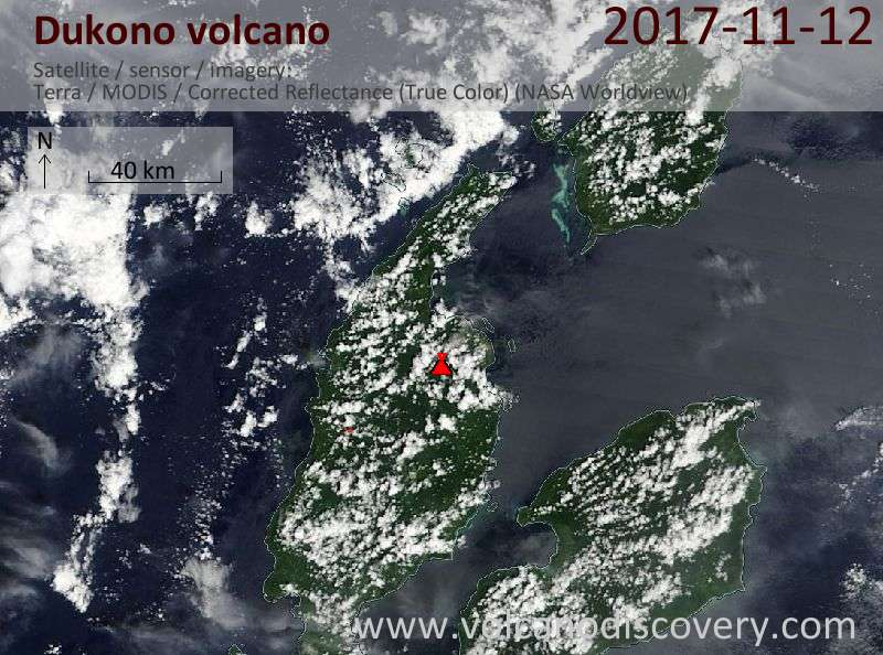 Satellite image of Dukono volcano on 12 Nov 2017