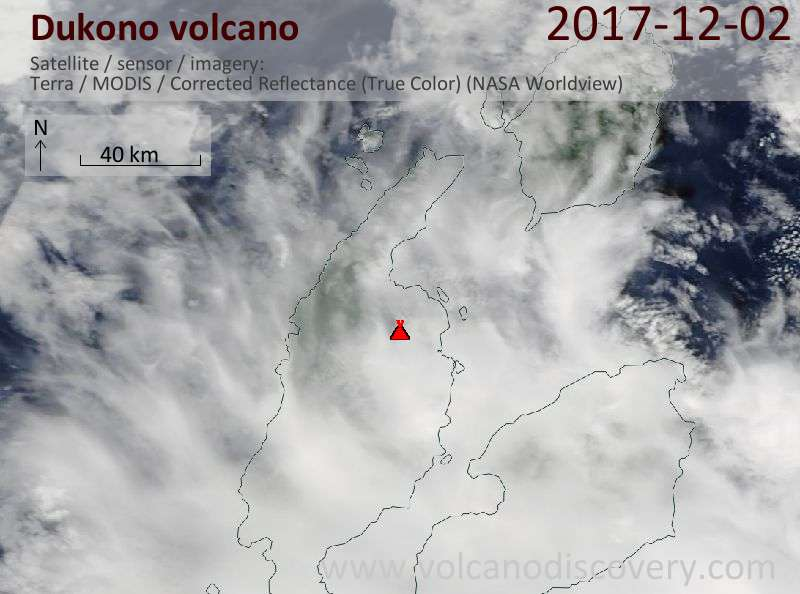 Satellite image of Dukono volcano on  2 Dec 2017