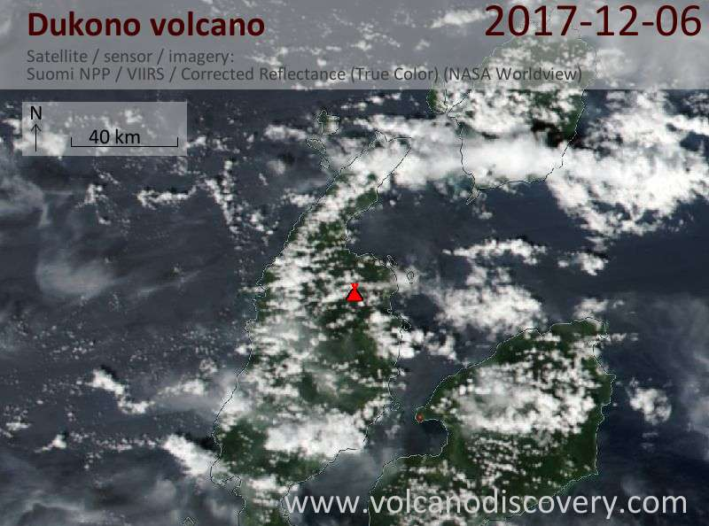 Satellite image of Dukono volcano on  6 Dec 2017