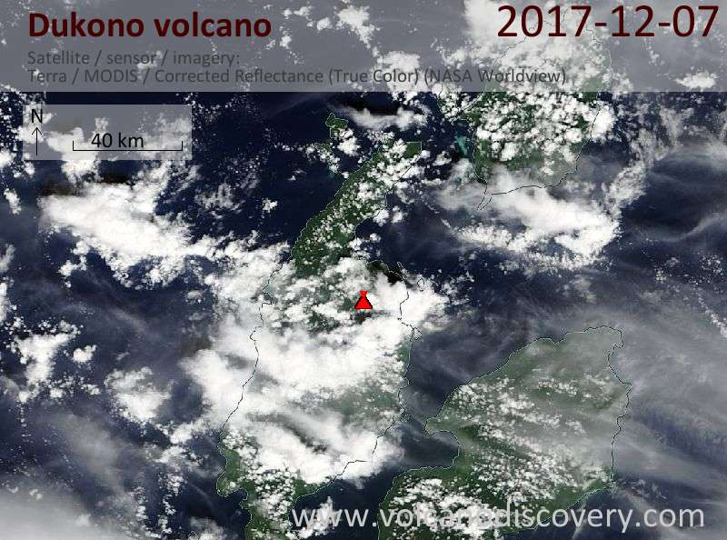 Satellite image of Dukono volcano on  7 Dec 2017