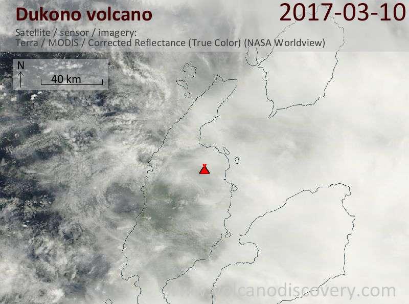Satellite image of Dukono volcano on 10 Mar 2017