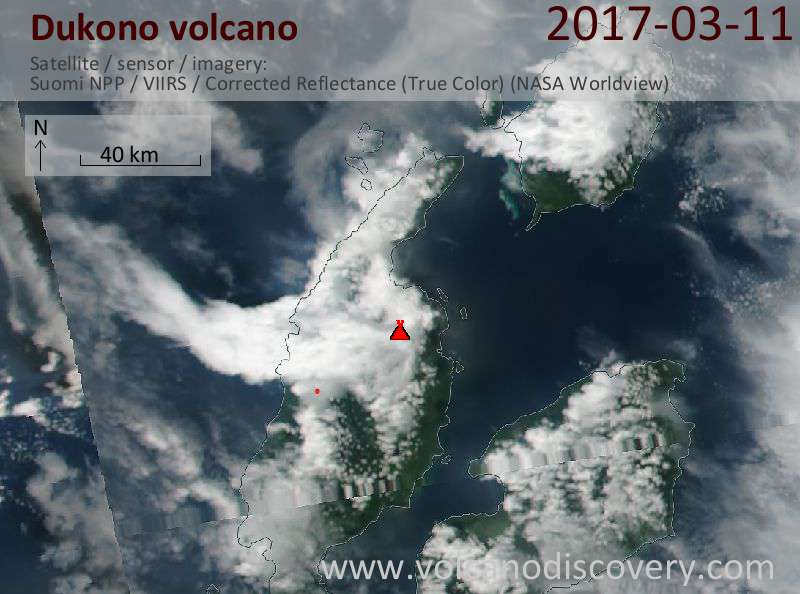Satellite image of Dukono volcano on 11 Mar 2017