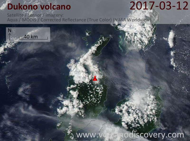 Satellite image of Dukono volcano on 13 Mar 2017