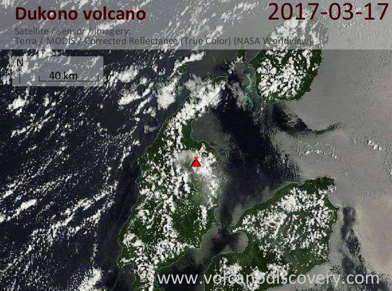 Satellite image of Dukono volcano on 17 Mar 2017