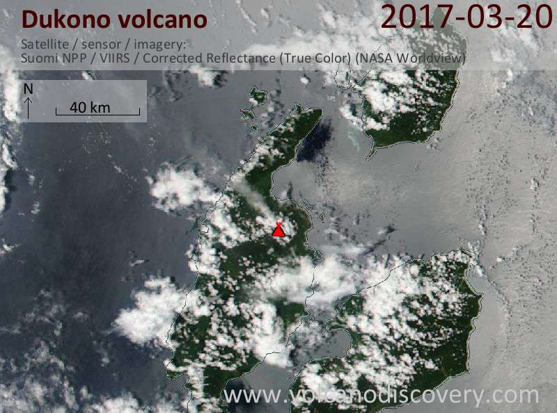 Satellite image of Dukono volcano on 20 Mar 2017