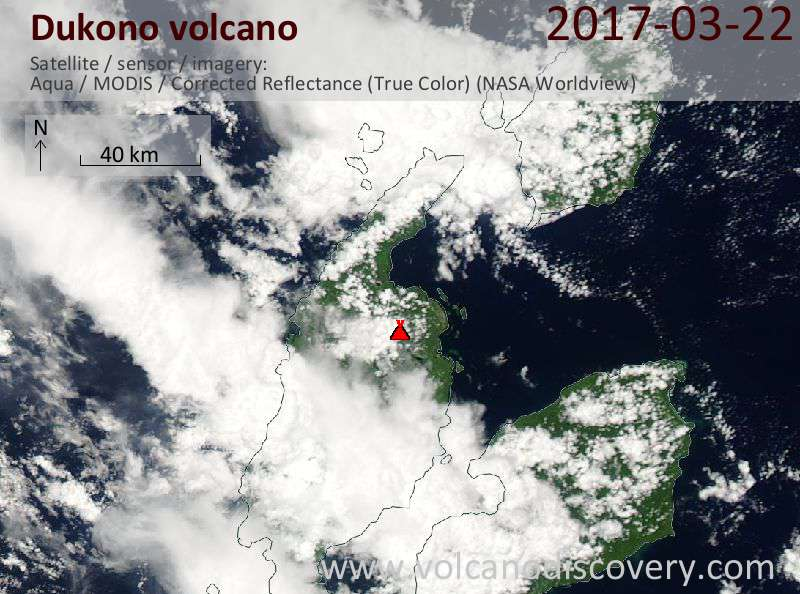 Satellite image of Dukono volcano on 22 Mar 2017