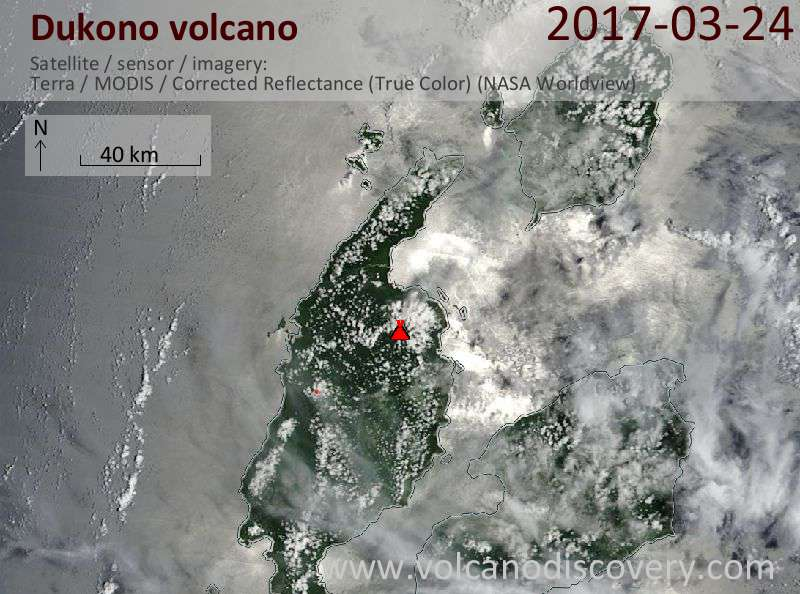 Satellite image of Dukono volcano on 24 Mar 2017