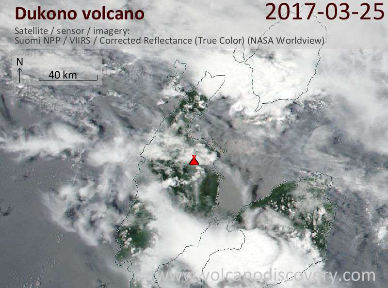 Satellite image of Dukono volcano on 26 Mar 2017