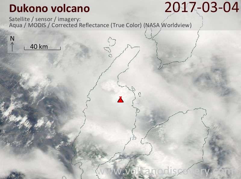 Satellite image of Dukono volcano on  4 Mar 2017