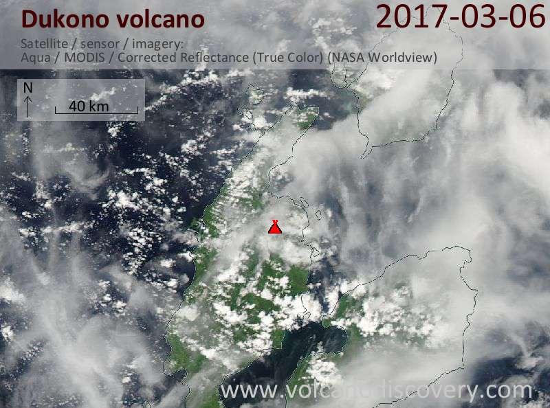 Satellite image of Dukono volcano on  6 Mar 2017