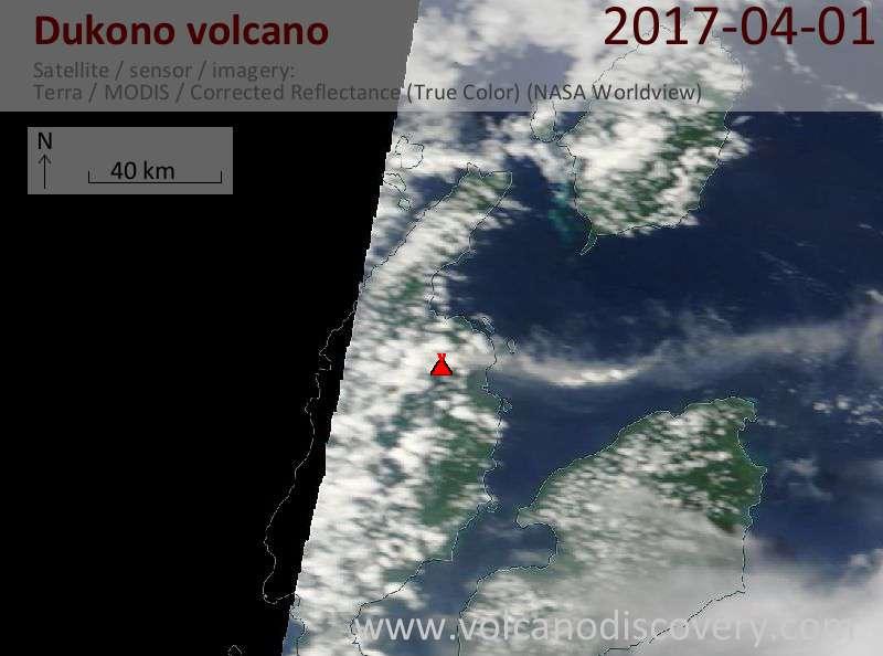 Satellite image of Dukono volcano on  1 Apr 2017