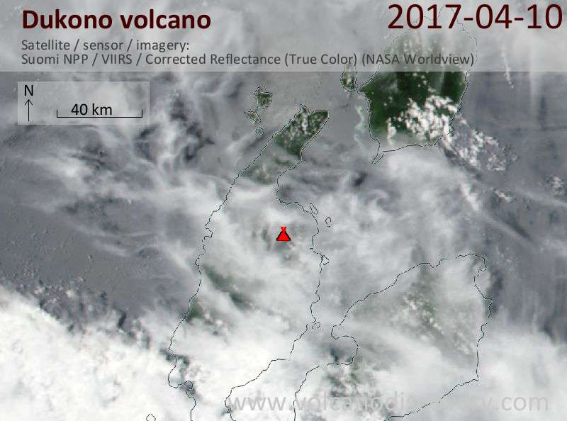 Satellite image of Dukono volcano on 10 Apr 2017