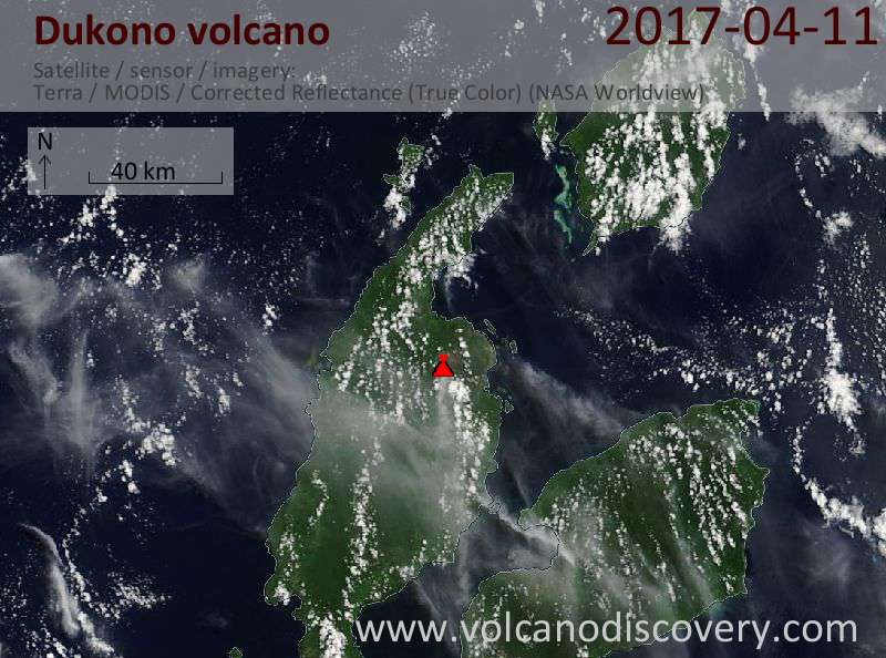 Satellite image of Dukono volcano on 11 Apr 2017