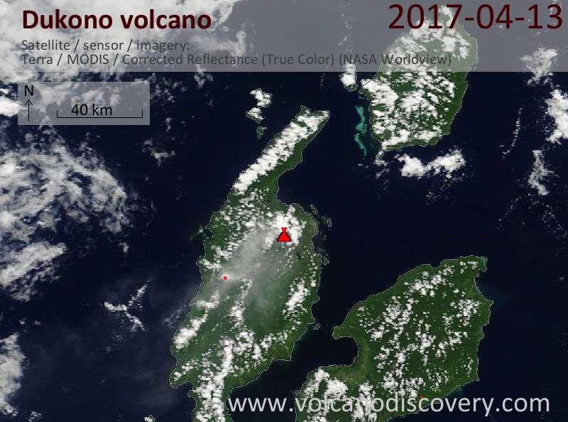 Satellite image of Dukono volcano on 13 Apr 2017
