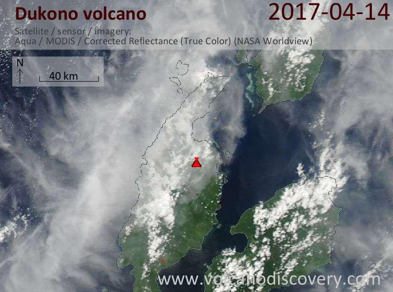 Satellite image of Dukono volcano on 14 Apr 2017