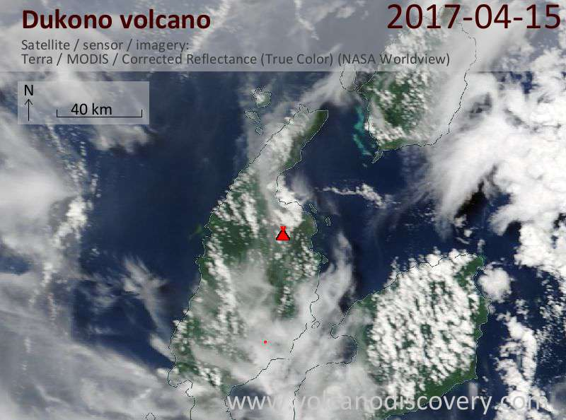 Satellite image of Dukono volcano on 15 Apr 2017