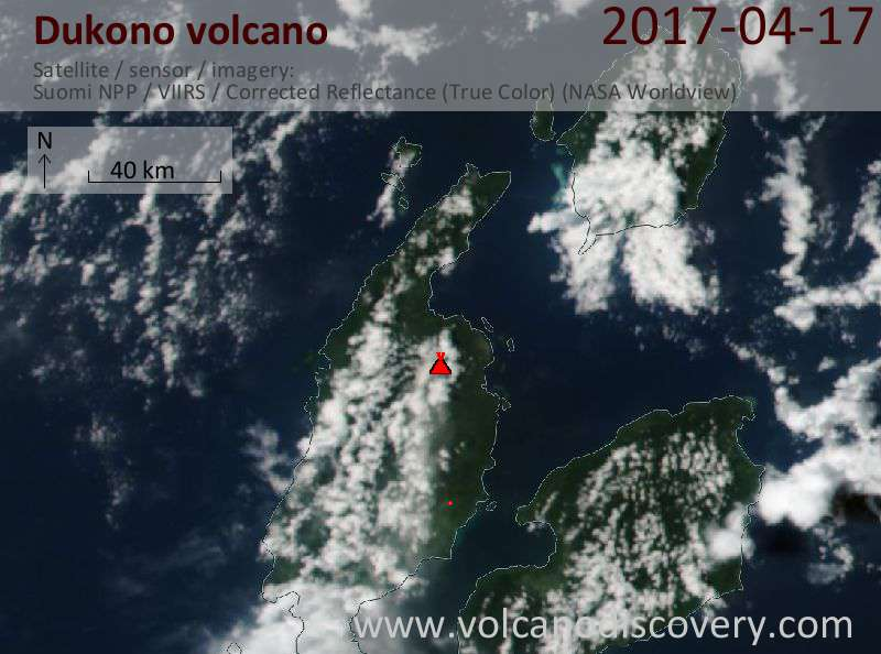 Satellite image of Dukono volcano on 17 Apr 2017