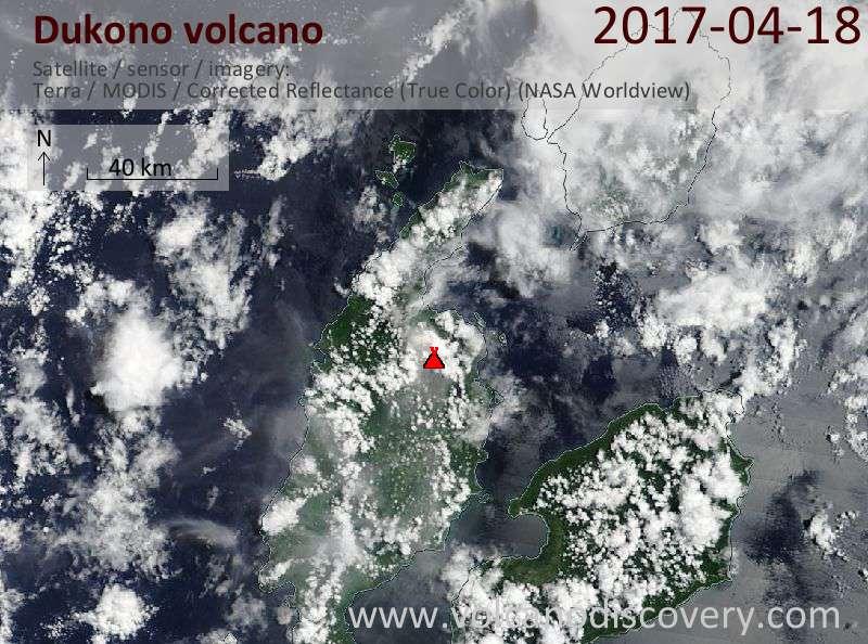 Satellite image of Dukono volcano on 18 Apr 2017