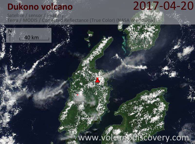 Satellite image of Dukono volcano on 20 Apr 2017