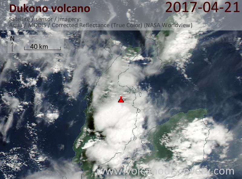 Satellite image of Dukono volcano on 21 Apr 2017